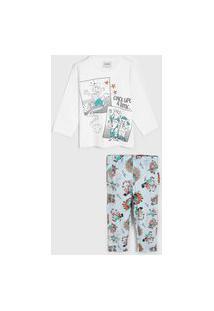 Pijama Rovitex Longo Infantil 3 Porquinhos Branco/Azul