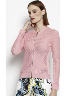 Jaqueta Em Tricô Com Seda - Rosa Claro - Versaceversace