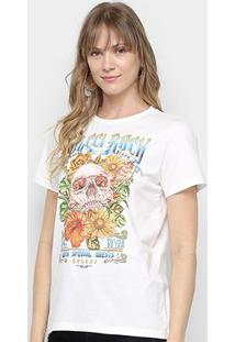 Camiseta Colcci Rock Skull Feminina - Feminino-Branco