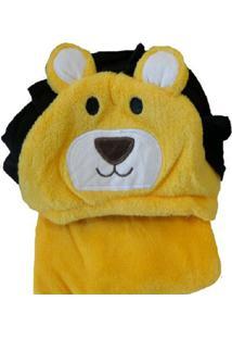 Manta Jolitex Microfibra Com Capuz Leão Amarelo