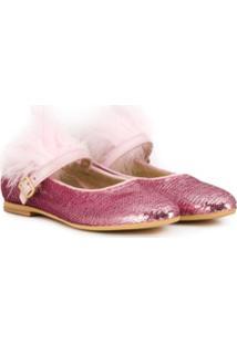 Monnalisa Sequin Embellished Ballerinas - Rosa