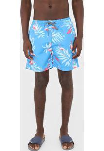 Bermuda Água Broken Rules Quadrada Flamingo Azul