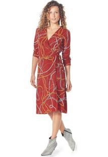 Vestido Lecimar Em Viscose Rayon Outono Inverno Manga Longa Vermelho Médio - Tricae