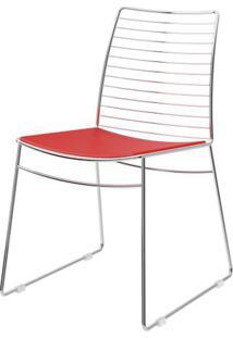 Cadeira 1712 Cromado Com Assento Courissimo Vermelho - 27676 - Sun House