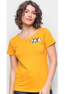 Camiseta Top Moda Boston Terrier Feminina - Feminino-Mostarda