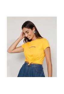 "Camiseta Feminina Manga Curta ""Sou De Exaustas"" Decote Redondo Amarela"