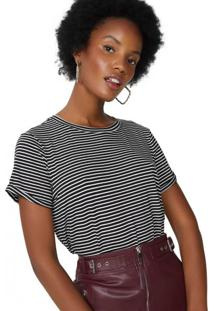 Amaro Feminino Camiseta Listrada Viscolycra, Listrado Preto Fino