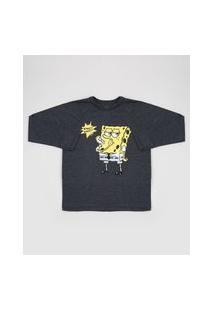 Camiseta Juvenil Bob Esponja Manga Longa Cinza Mescla Escuro
