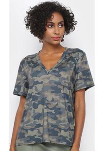 Tshirt My Favorite Thing Descolado Decote V Feminina - Feminino-Verde Militar