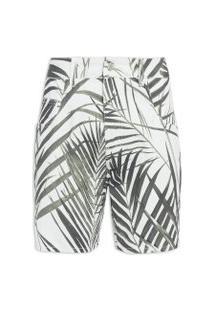 Bermuda Masculina Five Pockets Palm Leaf Light - Off White