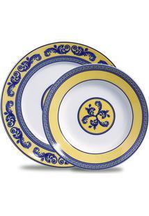 Conjunto De Pratos Raso E Sobremesa Maria Sintra Porcelana 12 Peças Branco, Amarelo E Azul Verbano