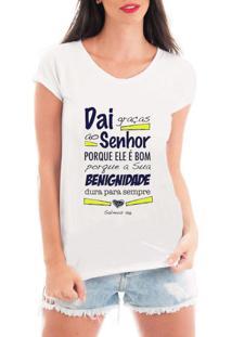 Camiseta Criativa Urbana Graças Ao Senhor Branca - Tricae