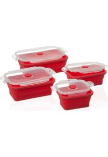 Kit Pote Dobrável Retangular Em Silicone Vermelha Com 4 Peças