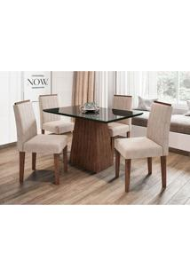 Conjunto De Mesa De Jantar Com Tampo De Vidro Jasmin E 4 Cadeiras Ana I Animalle Preto E Creme