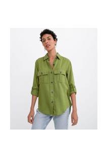 Camisa Manga Longa Lisa Com Botões Tartaruga E Bolsos | Marfinno | Verde | Gg