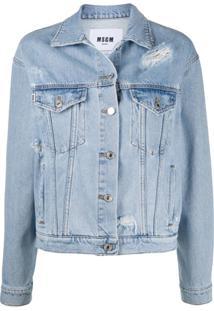 Msgm Jaqueta Jeans Destroyed Com Logo - Azul