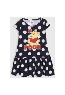 Vestido Fakini Infantil Pooh Preto/Branco