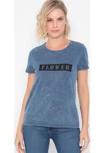 "Camiseta ""Flower""- Azul & Preta- Malweemalwee"