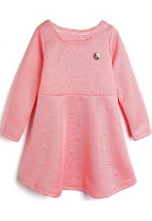 Vestido Elian Infantil Matelassê Rosa