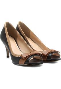 Peep Toe Couro Shoestock Tricolor - Feminino
