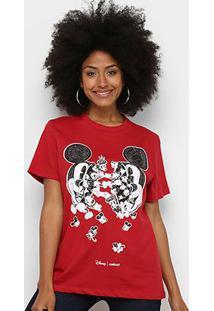 Camiseta Colcci Básica Mickey Feminina - Feminino-Vermelho