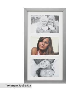 Painel Multifotos Insta- Prateado & Branco- 38X21X1,Kapos