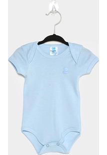 Body Bebê Pulla Bulla Manga Curta - Masculino-Azul Claro