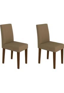Conjunto Com 2 Cadeiras Giovana Castanho E Marrom Médio