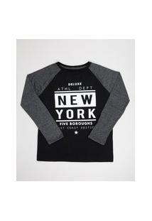 "Camiseta Juvenil New York"" Manga Longa Raglan Preta"""