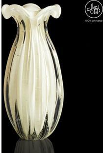 Vaso Texturizado- Incolor & Off White- 20Xø10Cm-Cristais São Marcos