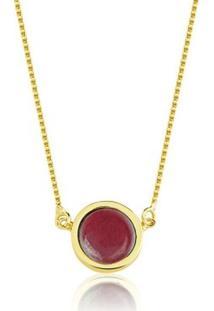 Colar Toque De Joia Pedra Redonda Jade Vermelha - Feminino-Dourado