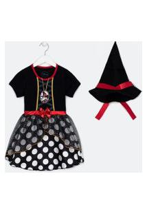 Vestido Infantil Estampa Minnie Fantasia Halloween - Tam 1 A 6 Anos | Minnie Mouse | Preto | 01