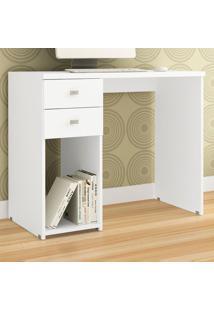 Mesa Para Computador 2 Gavetas 1 Nicho Msm 412 Branco - Móvel Bento