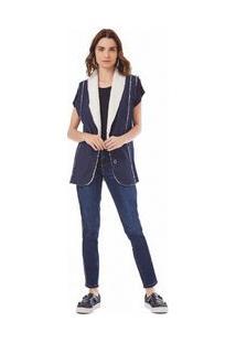 Colete Alongado Dupla Face Jeans P