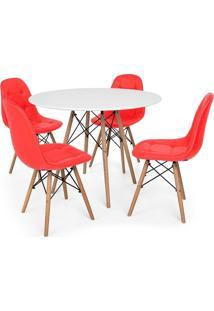 Conjunto Mesa Eiffel Branca 90Cm + 4 Cadeiras Dkr Charles Eames Wood Estofada Botonê Vermelha