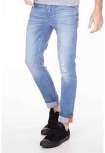 Calça Masculina Jeans Com Rasgos Pernas Jeans Delave