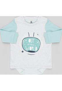 Body Camiseta Infantil Com Estampa Interativa Urso Astronauta Manga Longa Gola Careca Cinza Mescla Claro