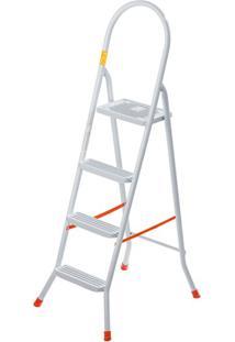 Escada Doméstica Em Aço Com 4 Degraus Branca