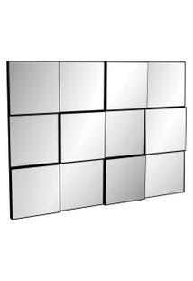 Painel Decorativo 3D Quadriculado (Espelhado) 100Cm Preto Brilho Dalla Costa