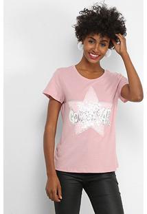 Camiseta Facinelli Golden Star Paetês Feminina - Feminino-Rosa