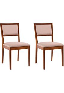 Conjunto Com 2 Cadeiras Kindon Estofada Castanho E Bege