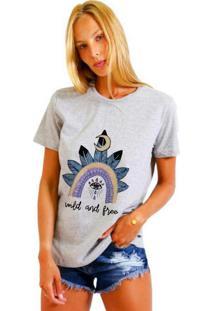 Camiseta Joss Básica Wild And Free Cinza Mescla Dtg