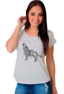 Camiseta Shop225 Lobo Geometrico Branco