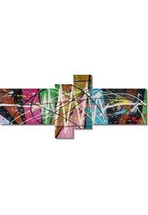 Quadro Painel Decorativo Abstrato 4 Peças Mosaico Abstrato