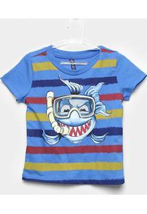 Camiseta Infantil Cativa Listrada Tubarão Masculina - Masculino-Azul Royal