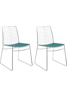 Kit 2 Cadeiras 1712 Turquesa/Cromado - Carraro Móveis