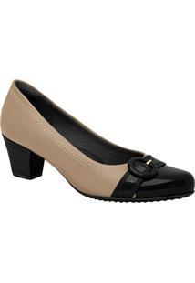 Sapato Com Fivela- Preto & Bege- Salto: 5Cmpiccadilly