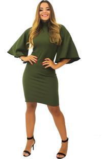Vestido Racy Modas Curto Manga Flare Verde