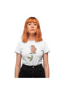 Camiseta Feminina Mirat Flor Colorida Branco