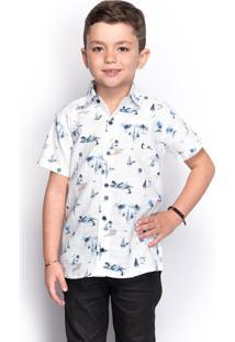 Camisa Social Infantil Menino Manga Curta Estampada Casual - Kanui